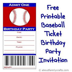 Baseball Ticket Birthday Party Invitation | About Family Crafts