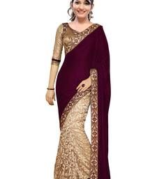 Buy maroon embroidered velvet saree With Blouse party-wear-saree online