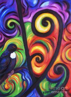 Koru Paintings - Tui And Koru by Dianne Connolly