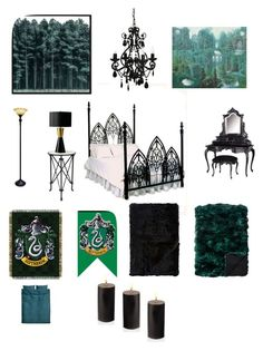 A home decor collage from October 2017 featuring iron bed, painted furniture and mirrored end table. Harry Potter Bedroom, Harry Potter Decor, Cute Room Ideas, Slytherin Aesthetic, Bedroom Vintage, Interior Decorating, Interior Design, Ballard Designs, Bedroom Inspo