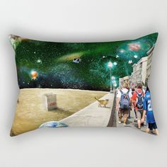"""Space Walk by Peter Gross  Our Rectangular Pillow is the ultimate decorative accent to any room. Made from 100% spun polyester poplin fabric, these """"lumbar"""" pillows feature a double-sided print and are finished with a concealed zipper for an ideal contemporary look. Includes faux down insert. Available in small, medium, large and x-large."""