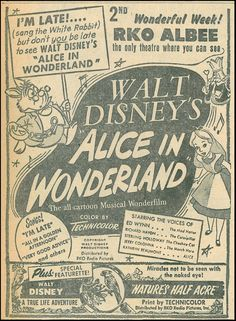 Walt Disney's Alice In Wonderland; A True-Life Adventures in Technicolor (Nature's Half-Acre), RKO Radio Picture, 1951.
