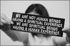 We are not human beings having a spiritual experience. We are spiritual beings having a human experience!