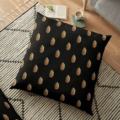 Black Floor, Pillow Design, Pine Cones, Louis Vuitton Speedy Bag, Floor Pillows, Louis Vuitton Monogram, Objects, Polka Dots, Flooring