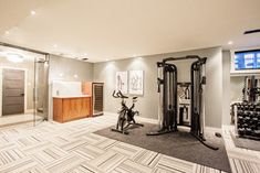 Funky Fresh Basement - contemporary - Home Gym - Other Metro - Madison Taylor Low Ceiling Basement, Home Gym Basement, Cozy Basement, Basement Remodel Diy, Basement Bedrooms, Basement Ideas, Home Gym Decor, Home Gym Design, Trendy Home