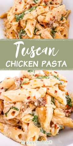 This creamy and healthy Tuscan Chicken Pasta with spinach and sun dried tomatoes will satisfy your pasta craving! This easy chicken recipe is skinny, family friendly, and can be cooked in your Instant Pot, in the slow cooker, or on the stovetop. Easy to make dairy free! One Pot Dinner | One Pan Meal | 21 Day Fix Tuscan Chicken #21dayfix #healthy #cleaneating