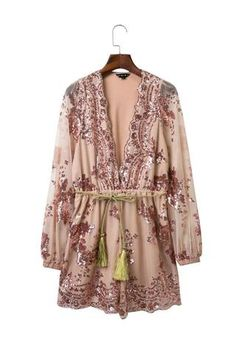 Goodnight Macaroon 'Witherspoon' Sequin Plunge Romper