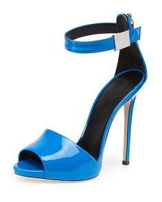 Patent Ankle-Wrap Sandal, Puffo by Giuseppe Zanotti at Bergdorf Goodman.