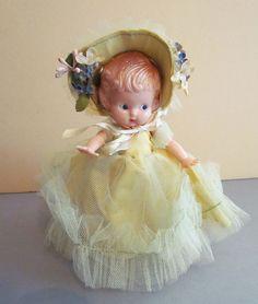 "Vintage Totally Original 6"" Knickerbocker Plastic Co., Hard Plastic Bridesmaid Doll"