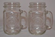 Vintage Golden Harvest Drinking Jars w/Handles 16oz. Clear Glass Anchor Hocking #GoldenHarvest