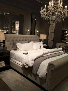 Bedroom decor master for couples romantic grey 8 - Home - Bedroom Decor Bedroom Decor Master For Couples, Bedroom Ideas For Couples Romantic, Couple Bedroom, Master Bedroom Design, Cozy Bedroom, Home Decor Bedroom, Bedroom Wall, Bed Room, Master Suite