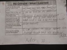 "SELF CRITIQUE- Jamestown Elementary Art Blog: 3rd Grade ""Action Jackson"""