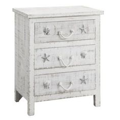 Seaside three drawer chest with seashells on the drawers. The drawers have rope handles. Dimensions for the chest are inch x 15 inch x inch. Find Furniture, Cabinet Furniture, Accent Furniture, Bedroom Furniture, Painted Furniture, Bedroom Decor, 3 Drawer Chest, Chest Of Drawers, Bachelors Chest