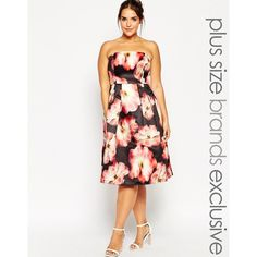 Chi Chi London Plus Strapless Floral Print Prom Dress ($31) ❤ liked on Polyvore featuring dresses, multi, plus size, plus size floral dresses, white dress, fit and flare dress, strapless prom dresses and white off the shoulder dress