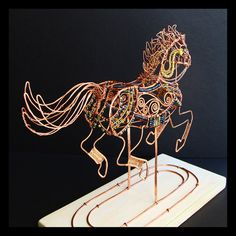Carousel Pony Copper Wire Sculpture by sparkflight on Etsy, $950.00
