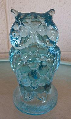 Aqua Blue Glass Owl made by Mosser Glass Inc. Cambridge by Megover, $24.50