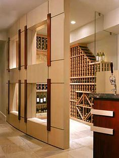 Sleek and contemporary wine cellar