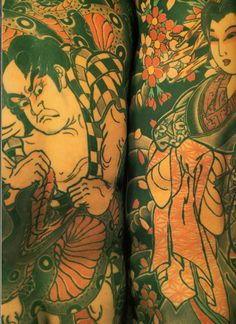 """Two vintage (pre-1990s) Japanese body suit backpieces, by Horiyoshi III. (from the 1987 book """"The Japanese Tattoo"""" - Sandi Fellman)"""