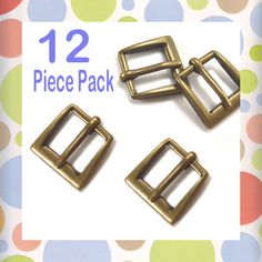 "$7.49 - Small 1/2 Inch Square Buckles, Antique Brass / Bronze Finish, 12 Pieces, Handbag Purse Bag Making Hardware, 1/2"" , .5 Inch, .5"""
