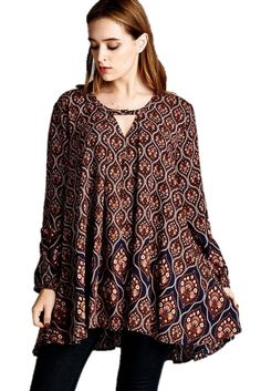 Indian Print Tunic Top or Dress - Long Sleeves, Pockets, V-Neck with Closure Detail