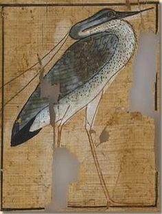 Vignet spreuk 83 uit het dodenboek van Ramose,  The Fitzwilliam Museum, Cambridge. De Blauwe Reiger (Ardea cinerea) stond model voor de heilige vogel die Benoe werd genoemd. Deze Benoe-vogel vormt de mythologische voorloper van de Griekse Phoenix. Lees het volledige artikel op Kemet.nl