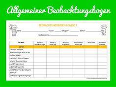 Sonniges Klassenzimmer: Allgemeiner Beobachtungsbogen