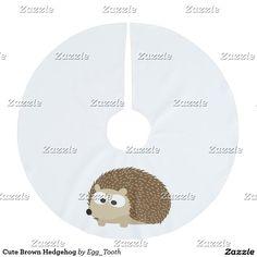 Cute Brown Hedgehog Brushed Polyester Tree Skirt