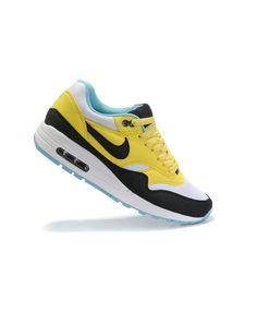 Women s Nike Air Max 1 Shoes Black Yellow White Sale 7d5db351a4