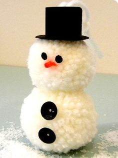 Pom Pom Snowman - Adorable for the tree.   #ChristmasTreeMarket #DIYornaments