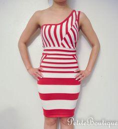 WET SEAL RED WHITE STRIPE BODYCON DRESS BANDAGE BONDAGE SWEATERKNIT $19.99