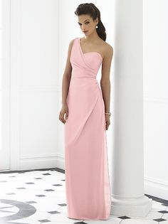 One shoulder full length  nu-georgette dress w/ draped bodice and draped skirt.  http://www.dessy.com/dresses/bridesmaid/6646/