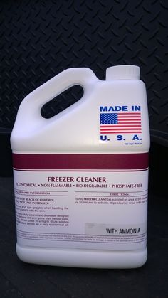 1 GAL FREEZER CLEANER WITH AMMONIA ~  Dilutable Concentrate ~ Economical ~ Biodegradable ~ Heavy Duty ~ Non-Flammable ~ Phosphate Free ~ All Purpose ~ Use to clean & degrease freezer walls, ceilings, & floors. Call 888-896-4827. Visit patriotchemicalcompany.com.