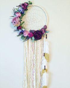 Floral Dream catcher Boho Chic Dreamcatcher Floral Wall