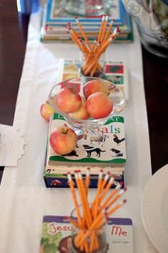 Decorate with pencils and apples for  book party.