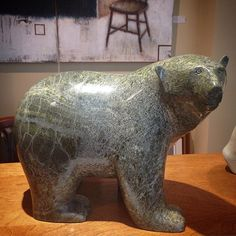 """Polar Bear"" by Ashevak Adla in a beautiful light green marbled serpentine $3,600 #inuitart #canadianart"