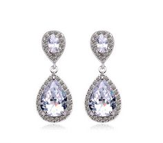 2014 teardrop cubic zircon drop earrings CZ earring wedding bridal earring art deco