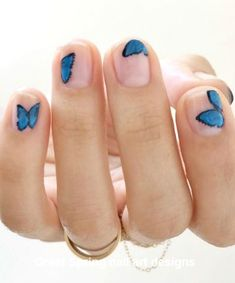 27 inspirational blue nail art designs and ideas spring 19 Blue Wedding Nails, Simple Wedding Nails, Wedding Manicure, Wedding Nails Design, Wedding Makeup, Bride Makeup, Lilac Wedding, Blue Nails, White Nails