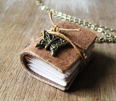 Book necklace follow your bliss book jewelry mini book by akinto, $24.00