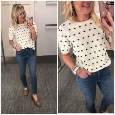 Adorable polka dot sweater top - Dressing Room Diaries | Hi Sugarplum! Sweater Outfits, Cute Outfits, Dress Outfits, Leopard Outfits, Polka Dot Sweater, Weekend Outfit, Trendy Dresses, My Wardrobe, Everyday Fashion