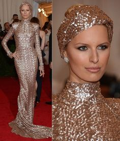 2012 MET ball --- She looks like a gilded snake. Are turbans making a comeback?
