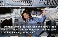 Sally Ride! On June 18, 1983, she became the first American woman in space as a crew member on space shuttle Challenger for STS-7. She was preceded by two Soviet women, Valentina Tereshkova in 1963 and Svetlana Savitskaya in 1982. The five-person crew of the STS-7 mission deployed two communications satellites and conducted pharmaceutical experiments. Ride was the first woman to use the robot arm in space and the first to use the arm to retrieve a satellite.