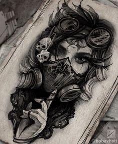 Creepy Tattoos, Dope Tattoos, Body Art Tattoos, Girl Tattoos, Horror Tattoos, Tattoo Design Drawings, Tattoo Sketches, Sketch Style Tattoos, Gas Mask Tattoo