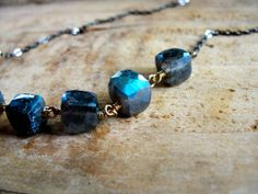 W i s d o m.... Faceted labradorite cubes on gold by CrowandIris, $25.00