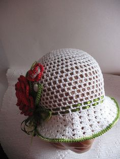 Hat Brim in White with Bright Red Rose Green Leaves by ninellfux