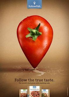 """Эта реклама у меня уже была , но сейчас больше принтов. И все-таки креатив очень хорош!) Реклама пиццы followfish: """"Попробуй пиццу с ингредиентами со всего мира"""""""