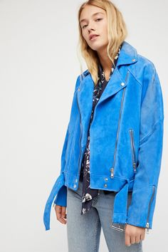 Cobalt Drapey Suede Moto Jacket at Free People Clothing Boutique