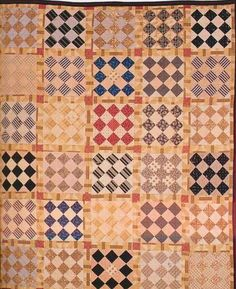 Nine-Patch, Old Maid, 1860. Made by Willie Marshall McDowell. Virginia.