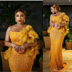 Ankara Aso Ebi 2019 Yellow Evening Dresses Luxurious Lace Beaded Prom Dresses Sexy Mermaid Formal Party Bridesmaid Pageant Gowns Black Long Evening Dresses Champagne Evening Dresses From Fancywed Yellow Evening Dresses, Champagne Evening Dress, Long Black Evening Dress, Yellow Gown, Evening Gowns, African American Fashion, African Fashion Ankara, African Fashion Designers, African Lace Styles