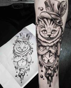arm tattoo cheshire cat