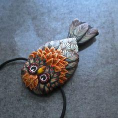 Small Orange Owl Sculpted Millefiori Pendant by Deb Hart